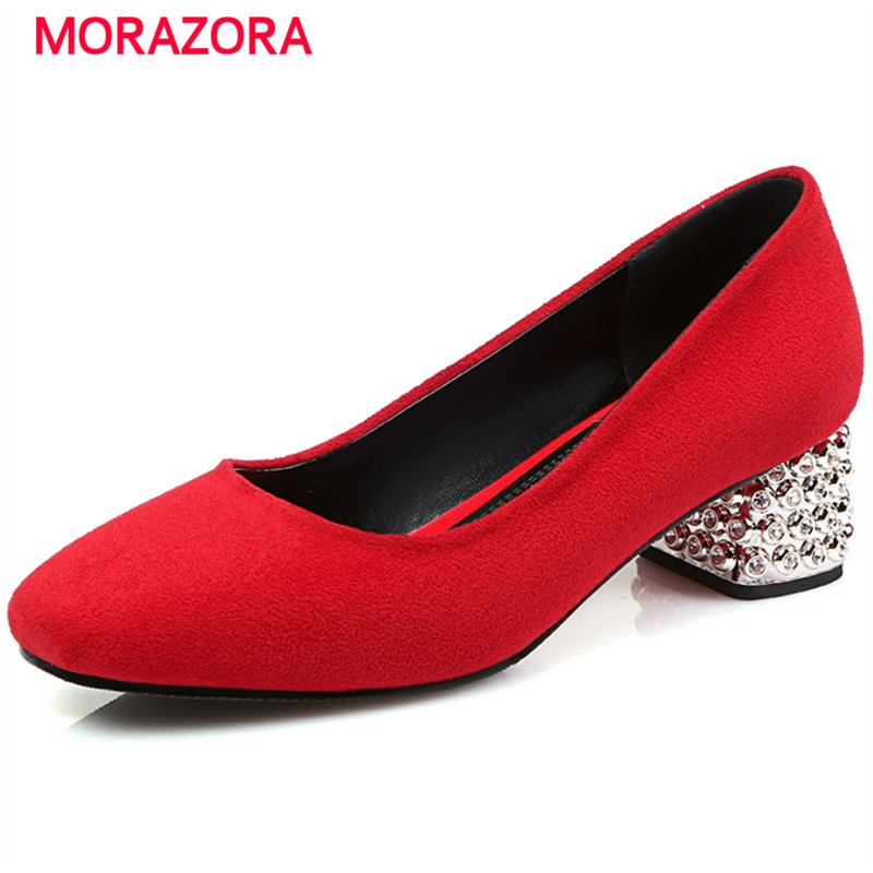 MORAZORA Med heels shoes woman PU nubuck leather women shoes pumps office lady party work shoes plus size 34-43<br>