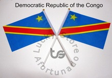 Democratic Republic of the Congo  Banner   free shipping Hand waving Flag Democratic Republic of the Con  National Flag 14*21 cm