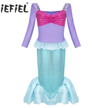 2017 new Girls flower dress mermaid-tail Princess Party Fairy Fancy Dress up Halloween Cosplay Costumes Outfits Gilrs clothing(China)