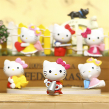 Hello Kitty Figurine Fairy Garden Miniatures Gnomes Kitty Terrarium Figurines Miniature Fairy Mini Garden Resin Craft 5Pcs