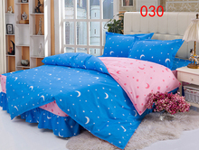 Twin Full Queen Moon stars Polyester Bed Skirt 4Pcs Bedding Set Dust Ruffle Bedclothes Sets Duvet Cover Quilt Cover Pillowcase(China)
