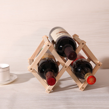 3 Racks Retro Folding Wine Rack Wooden Wine Bottle Holders Kitchen Accessories Bar Display Shelf(China)
