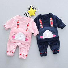 2017 Limited Direct Selling Active Corduroy Children's Clothing Boys Cute Cotton Out Two Sets Of 0-3-year-old Girl Spring Suit(China)