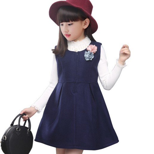 Newest 3,4,6,8,10,12Y Girls Dress Bow Cotton Kids Dresses Wool Tank Sleeveless O-neck Christmas Clothes For Sale AD-1632-1<br><br>Aliexpress
