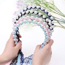 1PC Beautiful Girls Lady Headband Princess Hairbands Bows Imitated Pearl Tiara Lace Headwear Haird Accessories
