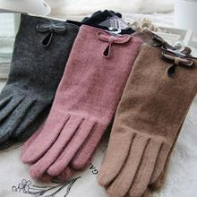 New Winter Angora wool gloves for women elegant ladies Bow Soft Warm cashmere driving gants femme pink  christmas gift WG-016