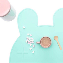 1pc Creative cute rabbit silicone Placemat Heat Resistant Mat Kids Baby Infant Tiny Diner Portable Table Mat 12x18in (48x37.5cm)