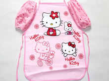 1Pcs/set Cute korean hello kitty/bule cat child kids apron set Kitchen art Baking Painting pinafore+arm sleeve PE Waterproof