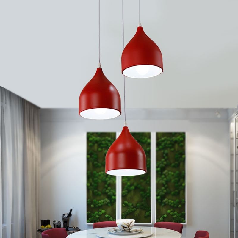 Creative DIY Black/White/Wine Red Lampshade Dining Lamp 1/3 Heads Led Pendant Lights For Restaurant Cafe Suspension Luminaire<br><br>Aliexpress