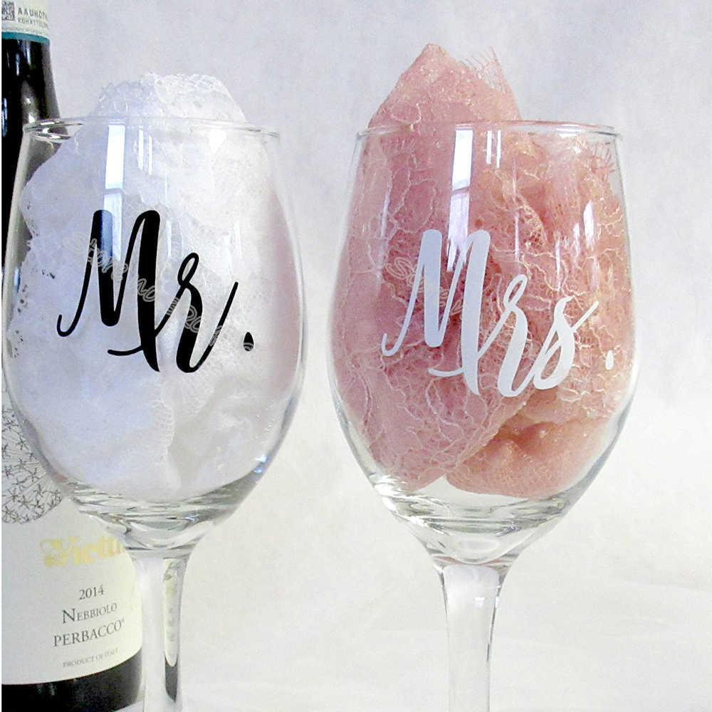 18pcs/set Mr and Mrs Wine glasses Sticker Newlyweds Engagement Wedding Gift Champagne glass decal Copas de vino Sticker EB020