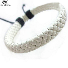 Hand Woven Cowhide Bracelet Simple Retro Multi Color Optional Adjustable Fashion Casual Sporty Unisex Bracelet Jewelry E-73(China)
