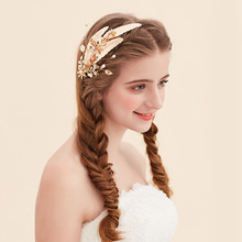 2017 Generous Gold Wedding Tiara Hair Clip Bridal Comb Accessories Handmade Women Headpiece golden leaves women hair jewelry