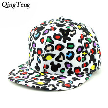 Funny Mickey Cap Cartoon Snapback Hat White Leopard Color Cheap Rockstar Cap Cute Snapback Hat For Girls women'S Hats Snap Backs(China)