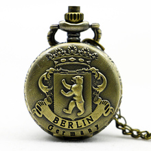 Retro Antique Grizzly Bear Berlin Germany Quartz Pocket Watch Analog Pendant Necklace Men Womens Gifts Small Size