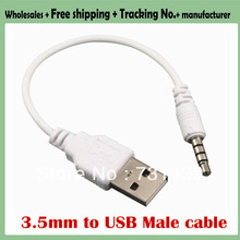 100pcs 3.5mm to USB data Cable USB DATA Sync Adapter Cable for iPod Shuffle 2nd Gen mp3 mp4 phone