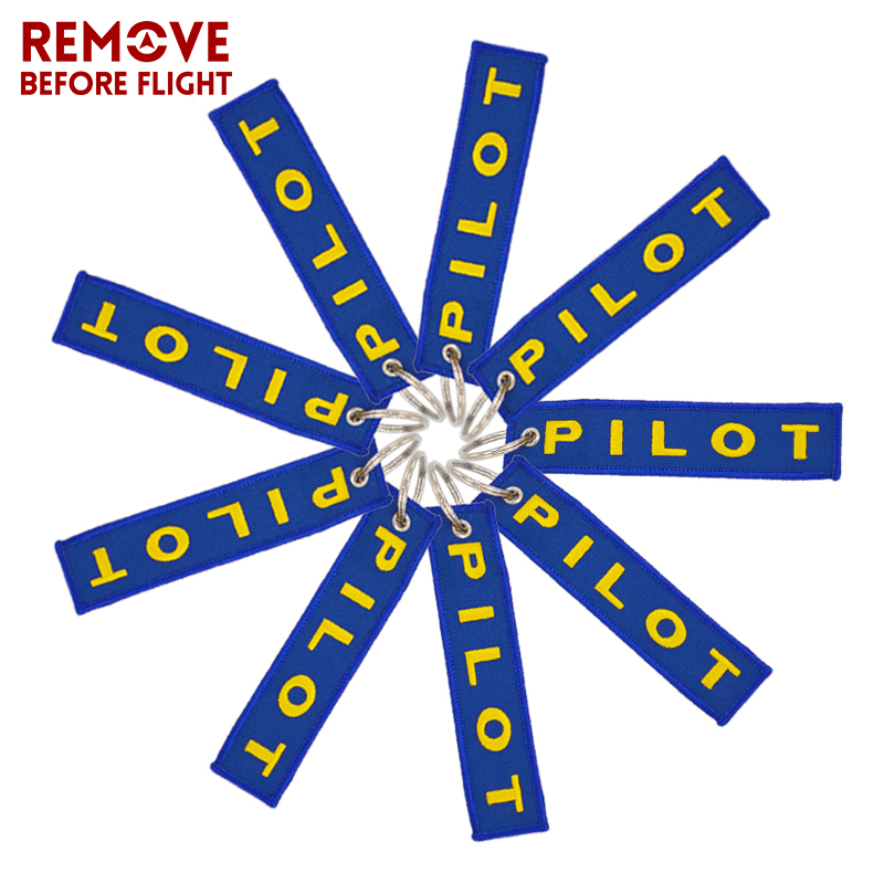 Remove Before Flight Pilot Key Chain OEM Key Chains Jewelry Embroidery Safety Tag Aviation Gifts Special Blue Pilot Luggage Tags