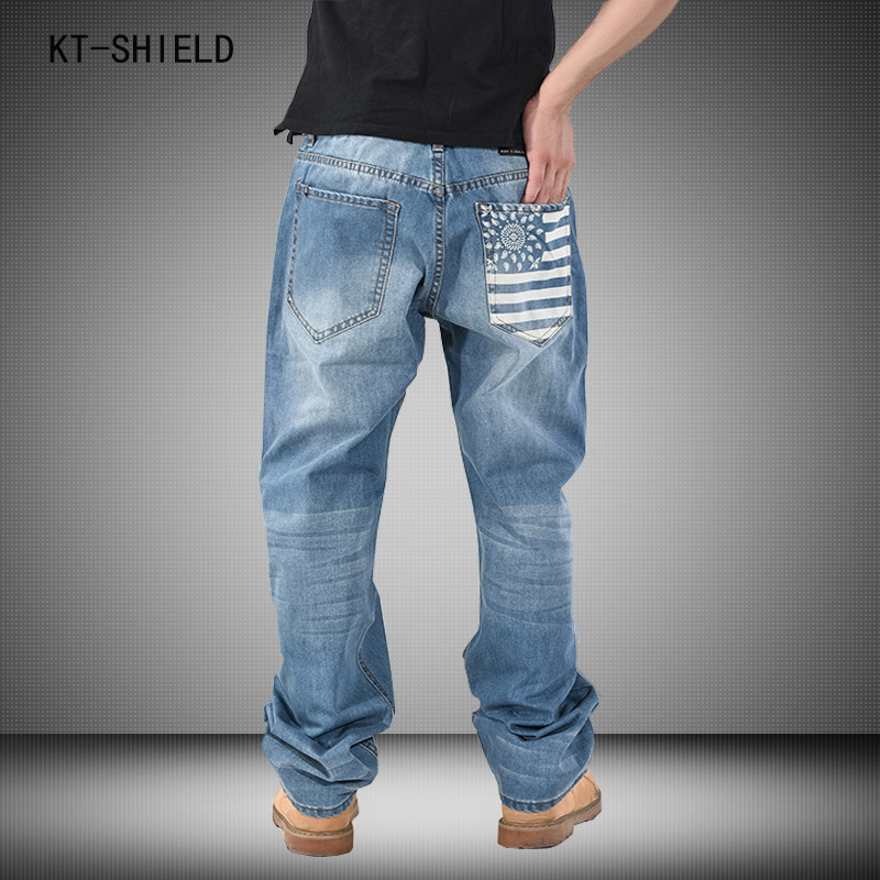 National Flag Printed Men Hip-Hop jeans Mens Long Loose denim overalls Fashion Skateboard Baggy Relaxed Casual Men Pants 30-46Одежда и ак�е��уары<br><br><br>Aliexpress