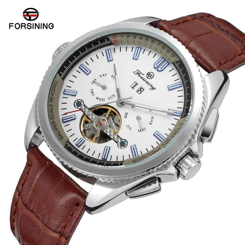 FORSINING Automatic Tourbillon Watches men Day Date Complete Calendar Genuine Leather Material Gent Band Strap Mechanical watch<br><br>Aliexpress