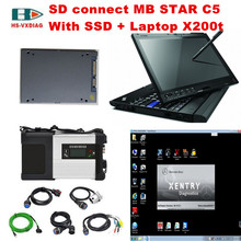 2017 car diagnostic computer x200T With SD connect mb star c5 and 2017/09 DTS+Vediamo+Vediamo software SSD for mercedes benz car(China)
