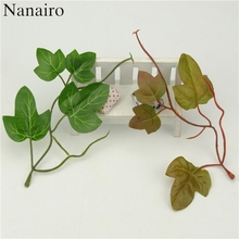 10pcs Green Artificial Leaf Plastic Branch Silk Leaves Shaped Home For Wedding Deocation Foliage Craft Cheap Fake Flowers