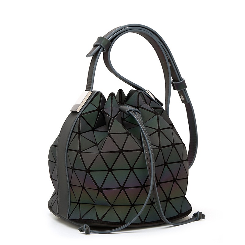 New Women BaoBao Bag Geometry Saser Plain Folding Bucket Bags Luminous Handbags Ladies drawstring Bao Bao Crossbody Bag Bolsas<br>