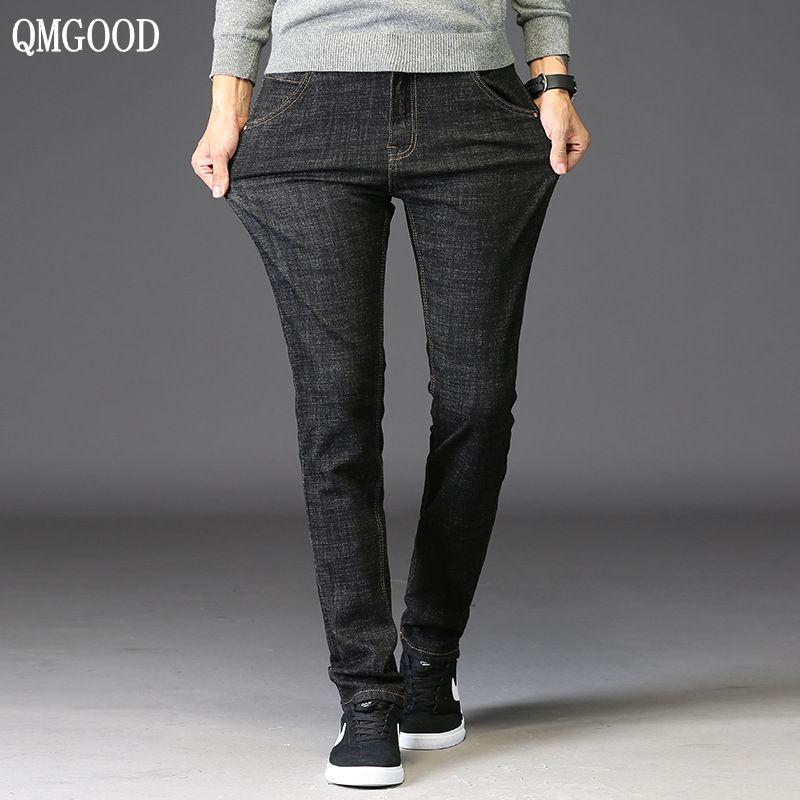 QMGOOD Autumn New Elastic Black Jeans Men Stretch Skinny Denim Jeans Man Casual Jeans Trousers Male Slim Fit Jeans Homme 28-38Îäåæäà è àêñåññóàðû<br><br>