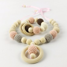 Let's Make Teething Necklace Set Collier Allaitement Teething Cotton Wood Beads Crochet Mum Necklace Developmental Toy