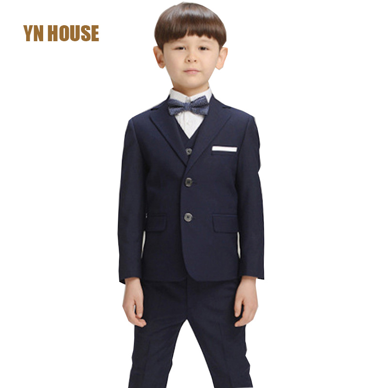 2017 Flat V-neck Real Kids Tuxedo Suit 3pcs Boys Suits For Weddings Prom Wedding Dress For Tuexdo Children Clothing Set For <br>