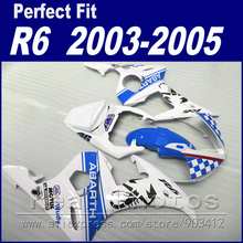 Hot sale motorcycle parts for YAMAHA R6 fairing kit 2003 2004 2005 ABARTH blue whiteFit YZF R6 fairings 03 04 05(China)