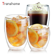 Transhome New Double Walled Glass Cups Clear Handmade Blown Double Wall Layer Glass Coffee Cup For Flower Tea Water