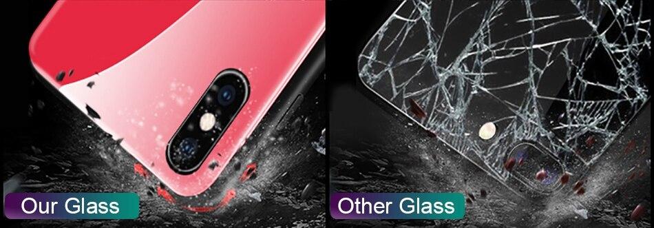 iPhone X Xr Xs Max豪华硅胶手机壳适用于iPhone 6的iPhone 7 8 Plus手机壳适用于iPhone 6 6S Coque的渐变钢化玻璃保护套(8)