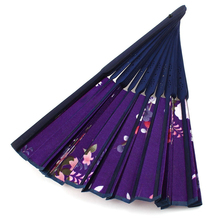 Purple Bamboo Ribs Cherry blossoms Pattern Foldable Hand Fan