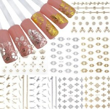12 Sheets/Lot 3D Nail Art Gold and Silver Sticker Decal DIY Tool