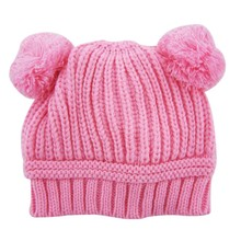 Winter Toddler Baby Caps Boys Girls Dual Ball Knitted Crochet Beanie Hairball Ear Baby Hat Cute Children Caps