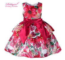 Pettigirl New Europe Style Flower Print Girls Dresses With Red Sash Bow Retail Baby Girl Christmas Clothes GD81007-78Z