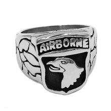 The 101st Airborne Screaming Eagles Ring 316L Stainless Steel Jewelry Punk US Army Ring Biker Rings For Men Wholesale SWR0751A(China)