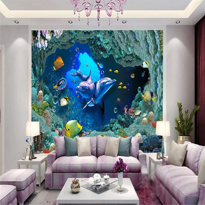 Custom photo wallpaper 3D stereoscopic wall paper living room TV background wall covering underwater world 3d mural painting<br><br>Aliexpress