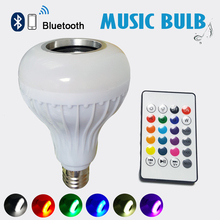 E27 Smart RGB Wireless lampada Bluetooth Speaker Bulb Music Playing Dimmable LED RGB Music Bulb Light Lamp With 24 key remote