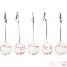 wholesale:lot 5pcs solid resin baseball wire recipe&desk&card&note&memo&photo clip/holder or paper weight,sport sereis(China)