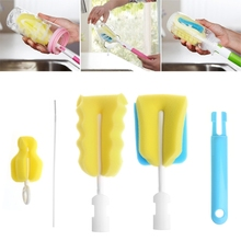 4pcs/set Sponge Brush Baby Bottle Cup Glass Pacifier Washing Clean Cleaner Tool Kit Random delivery(China)