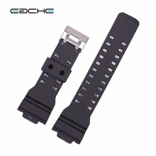 EACHE  Black White 16mm Replacement Watch band fit for g-shock silicone watchbands waterproof straps with silver buckle