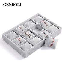 GENBOLI 12 Lattice Jewellery Display Boxes Watch Bracelet Showcase Organizer Stand Holder Velvet Gift Box Casket(China)