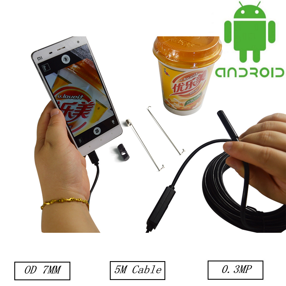 New Micro Inspection USB Tube Camera Android Endoscope7MM 6 LED Lens 5M  Underwater Fishing Camera<br><br>Aliexpress