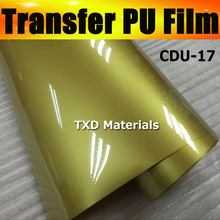 Free shipping  DISCOUNT Whole roll  heat transfer PU vinyl 0.5X25M/Roll with good quality CDU-17 GOLD COLOR