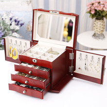 Red White Foldable Wooden Jewelry Organizer Box Organizadores House Storage Accessories Can be Organizador De Maquiagem