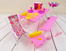 Pink Barbecue Table Chair Set / Pretend Play dollhouse furniture Accessories decoration collection for Barbie kurhn doll Toy