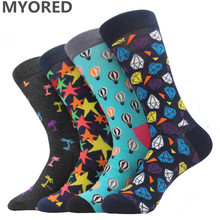 MYORED men socks cotton brand colorful socks for happy man harajuku business dress awesome long big size sock crew wedding socks