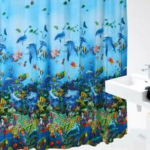 Ocean Sea Life Fish Curtains Colorful Bright Waterproof Shower Curtain Bathroom With Hooks Ring Levert Dropship mar1(China)