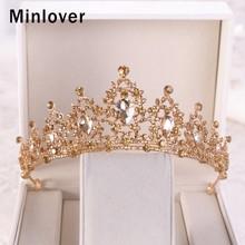 Minlover Luxury Gold Color Crystal Baroque Wedding Tiaras Crowns Bride Hair Accessories Princess Headband Women Girl Diadem G162(China)