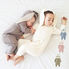 Long Rabbit Ears Baby Girl Rompers Boys Fleece Lined Hooded Jumpsuit Thicken Warm Winter Newborn Climb Clothing Children Clothes